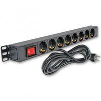 Блок розеток ITK 8 розеток немецкий стандарт с LED выключателем 1 юнит вход С14 без шторок