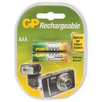 Батарейки аккумуляторные GP, AAA, Ni-Mh, 1000mAh, КОМПЛЕКТ 2 шт, в блистере, 100AAAHC-2DECRC2