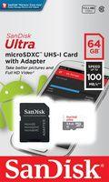 Карта памяти microSDXC 64Gb Class10 Sandisk SDSQUNR-064G-GN3MA с SD адаптером