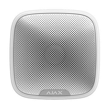 Ajax StreetSiren (white) Оповещатель свето-звуковой радиоканальный (протокол Jeweller), уличный; уровень звукового давления 85...113 дБ; красные светодиоды; f-раб.868,7...869,2 МГц; дальность связи до 2000 м; U-пит.12 В , 4 элемента питания 3 В CR123A;