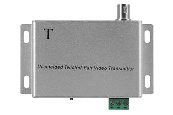 Приемо-передатчик TBTEC TBP-302T, одноканальный активный  по неэкранированной витой паре. Подавление внешних помех, Грозозащита. Максимальная длина линии: 2400м при использовании активного приёмника, 12 В DC, Разъем BNC (гнездо) на корпусе