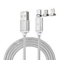Кабель CADENA USB 2.0 - 3в1, 1м, серебрянный, WS052 Lighting/Micro/Type-C
