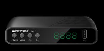 Ресивер цифровой эфирный World Vision T62D, комбинированная приставка для приема цифрового телевидения в стандартах эфирного DVB-T/T2 и кабельного DVB-C телевидения.