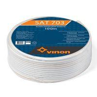 Кабель ТВ Vinon SAT 703, 75 Ом, в бухте по 100 м, белый, 1 метр