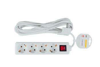 Удлинитель бытовой IEK 4 розетки шнур 5м с заземлением с выключателем 16А
