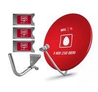 Спутниковое телевидение МТС ТВ №185 на 3 телевизора с тарелкой 60 см (подключение к мультисвичу)