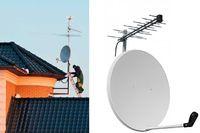 Стандартная установка комплекса антенн эфирного, цифрового ТВ, состоящего из 3-х антенн и мачты